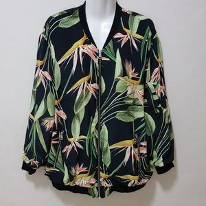 Zara Bomber Jacket Printed Tropical Floral Leaves